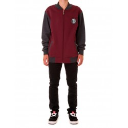 ZIP VARSITY JACKET BORDO